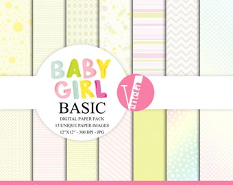Baby Girl Basic Digital Paper Pack  Instant Download Printable Baby Girl Nursery Baby Shower Pink Green Basic Stripes Dots CAS ClipArt 12x12