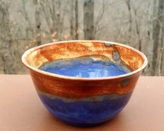 Handmade pottery bowl, blue bowl, small bowl, prep bowl, ring trinket bowl, ice cream bowl, serving bowl, hold 2 cup, FREE SHIPPING