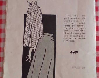 "1950s Skirt - 26"" Waist - Sunday Chronicle Pattern Service 4609 - Vintage Sewing Pattern"