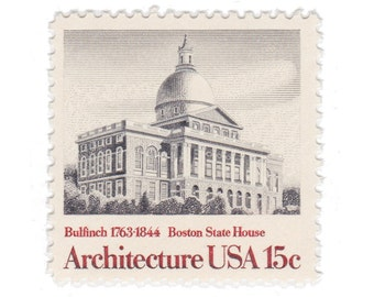 10 Unused Vintage Postage Stamps - 1979 15c Boston State House - American Architecture Series - Item No. 1781