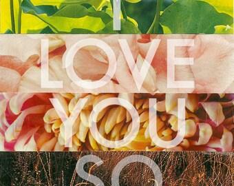 I Love You So art tile. Coaster. Contemporary decor.