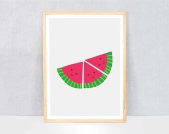 watermelons print / kids art print / kids wall art / cute illustration / bright colours / kids poster print / fruit