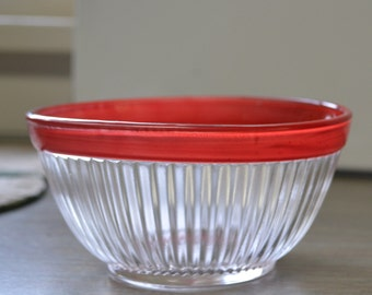 Cute Little Federal Depression Glass Bowl with Red Stripe