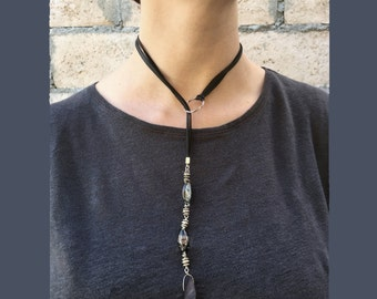 Mother of Pearl Lavender Shell Lariat , Genuine Leather Choker
