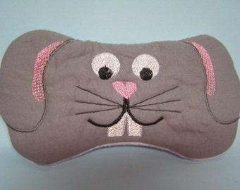 Embroidered Eye Mask for Sleeping, Cute Sleep Mask for Kids or Adults, Sleep Blindfold, Travel, Slumber Mask, Bunny Rabbit Design, Handmade