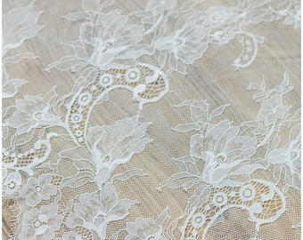 3 METER Soft Flower Lace, Lingerie Lace, Eyelash wedding lace fabric, Bridal Lace Fabric,Soft, Evening dress Lace, Off-White (C17-001)