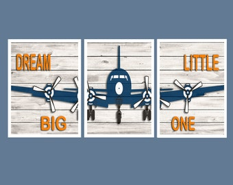 Vintage Airplane Wall Art, Airplane Decor, Playroom Wall Decor, Navy Orange decor, Babyshower Gift, Playroom Wall Art Airplane art
