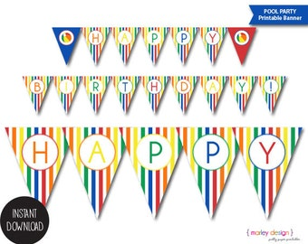 Printable Pool Party Birthday Banner Primary Colors Boys Beach Splish Splash Party Instant Download Digital PDF