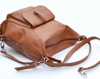 LEATHER BACKPACK PURSE Multi Way Rucksack Tote Bag Brown Leather Shoulder Bag