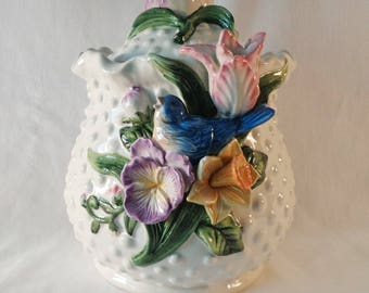 COOKIE JAR ~  Knobby White with beautiful Floral Design
