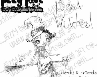 INSTANT DOWNLOAD Digi Stamp Digital Image Whimsical Big Eye Witch on Broomstick ~ Wendy & Friends Image No.253 by Lizzy Love