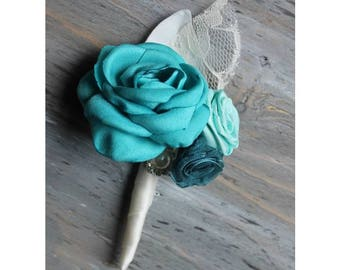 Turquoise Teal Aqua Wedding Boutonniere Grooms Boutonniere Groomsmen Boutonniere Mens Wedding Boutonniere Turquoise Boutonniere Wedding