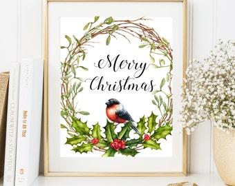 Merry Christmas Print Christmas home decor Christmas wreath print Christmas party decor Printable Holiday Decor Winter holiday decorartion