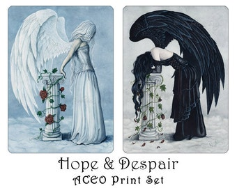 Hope and Despair ACEO Print Set Angels Emotions Art Artist Trading Cards ATC Emotions Fantasy Art Wings