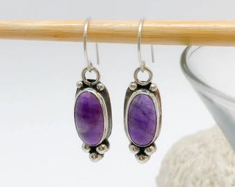 Purple Stone Earrings, Sterling Silver and Amethyst Dangles, Handcrafted Bezel Set Jewelry