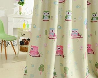 owl curtains etsy