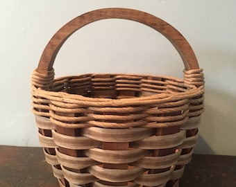 Wicker Basket with Handle Wooden Easter Basket Woven Basket Vintage Basket Farmhouse Decor Country Rustic Decor Valentines Gift For Her
