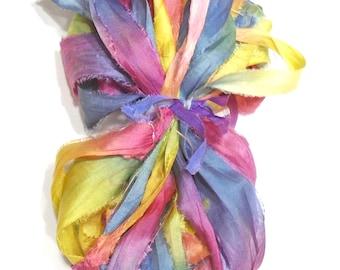 10YD. POP ROCKS Sari Silk Bundle//Dyed Silk Sari Ribbon Bundle//Sari Tassels,Sari Wall Decor,Sari Fiber Jewelry,Sari Tapestry