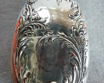 Antique sterling silver 925-1000 ornate flask 10 oz
