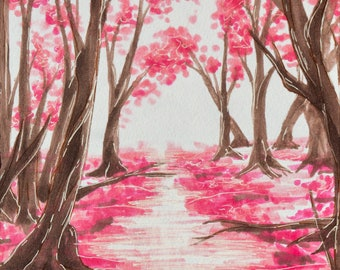 Path of Sakura Trees- Print