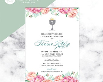 First Holy Communion Invitation  // 120 x 180mm // Change to any Occasion