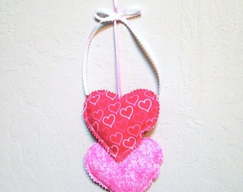 Pink Heart Hangings, Valentine Hearts Wall hanging, Fabric Hearts Wall Hanging, Valentine Decorations