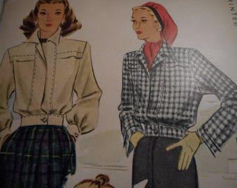 Vintage 1940's McCall 6360 Windbreaker Jacket Sewing Pattern Size 16 Bust 34