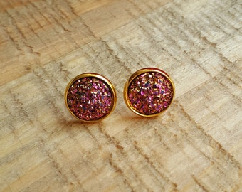 Pink and Gold Druzy Stud Earrings