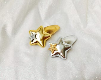 Star hair clips star snap clips girls snap clip baby snap clips gold star silver star snap clips girls hair clips baby hair clips