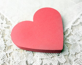 RED Heart Die Cuts, 25 2.25 inch Punches, favor tags embellishments scrapbooking