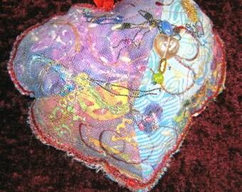 Heart Sachet,Fiber Art,Heart,Sachet,Valentine's Gift,Gift,Home Decor,Heart Ornament