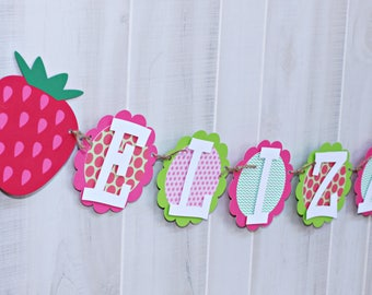 Strawberry Birthday NAME Banner - Strawberry Party Banner - Strawberry Name Banner