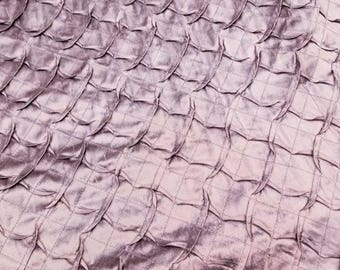 100% Silk Shantung Pintuck scalloped stiched usable for interior decorating and for apparel use. 45 inches wide sold by the yard.