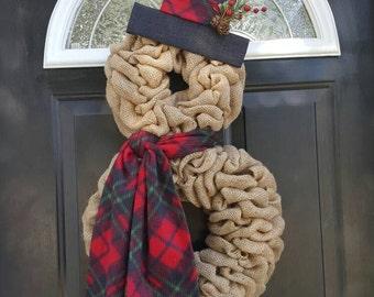 Snowman Wreath, Christmas wreath, Burlap Snowman Wreath, Burlap Christmas Wreath, Christmas decor, Snowman, Burlap wreath, Front door wreath