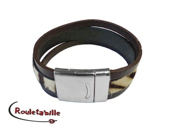 Wide strap, hair Zebra, Brown and beige, silver magnetic clasp