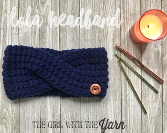 Navy Lola Headband // Ear warmer, Head wrap