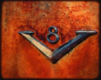 Desmond's V-8 - Old Rusty Car Emblem - Fine Art Photography