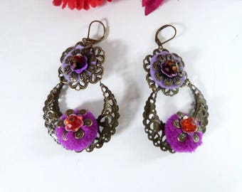 Gispy boho earrings in bronze,purple and orange with pompon.