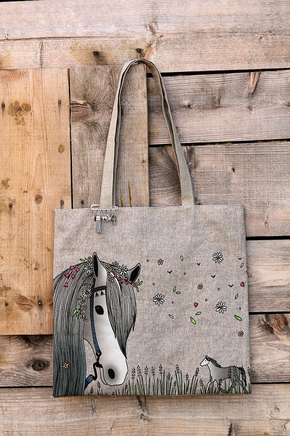 """Tote bag in natural linen lined and illustrated """"Bohemian horse"""""""