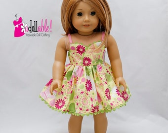 Fits like American Girl doll clothes, lime green/pink/hot pink floral sundress / 18 inch doll clothes