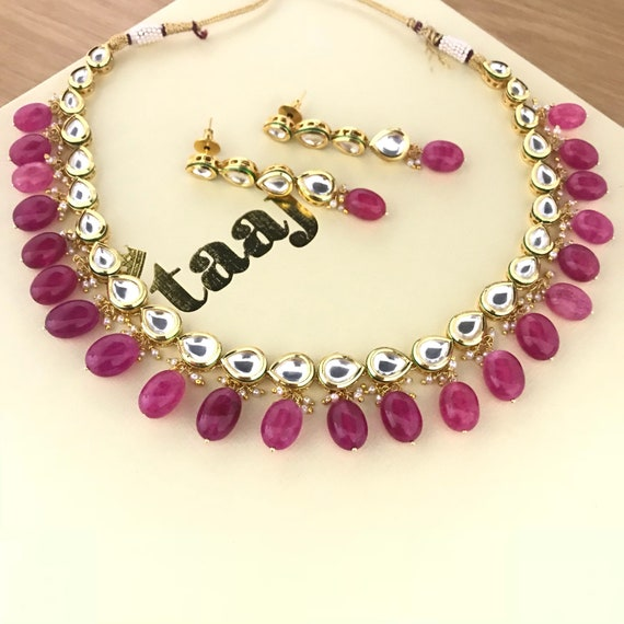 Nisha Ruby kundan Necklace and earrings set