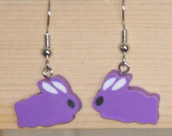 Purple Bunny Earrings for EveryBunny Easter dangle earrings rabbit hare Peter Cottontail