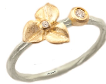 Hydrangea Blossom Diamond Engagement Ring, Stacking Ring, Sterling Silver, 14kt Gold Flower, Hydrangea Ring.  Handmade by Gevani Jewelry.