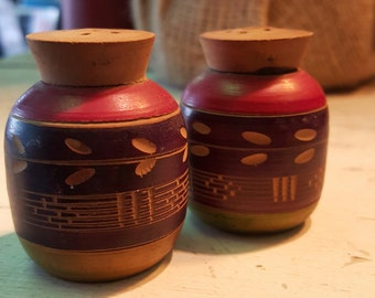Vintage Handtooled Wood Salt & Pepper Shakers