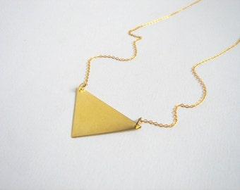 Minimalist Brass  Necklace,Brass Triangle Necklace