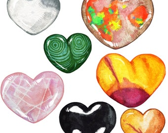Cute Crystal Hearts Sticker Pack