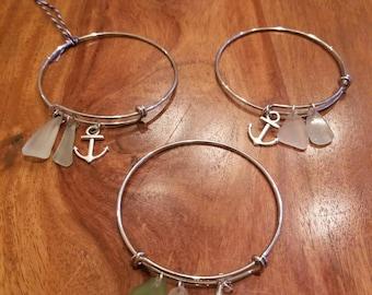 Sea Glass with Charm Bangle Bracelet