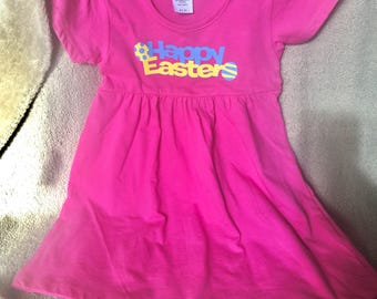 2t toddler baby girl Happy Easter dress.  Pink dress with blue and yellow lettering. Easter eggs