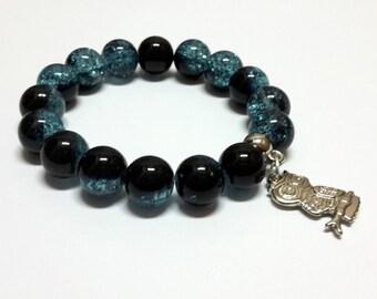 Owl in icy blue bracelet