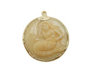 Mermaid Pendant - Round Mermaid White Bone Pendant with Electroplated 24k Gold Edge (S93B8-05)